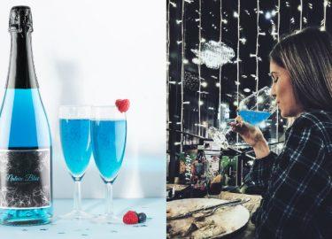 blauwe champagne