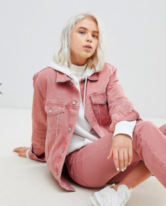 roze denim jas asos
