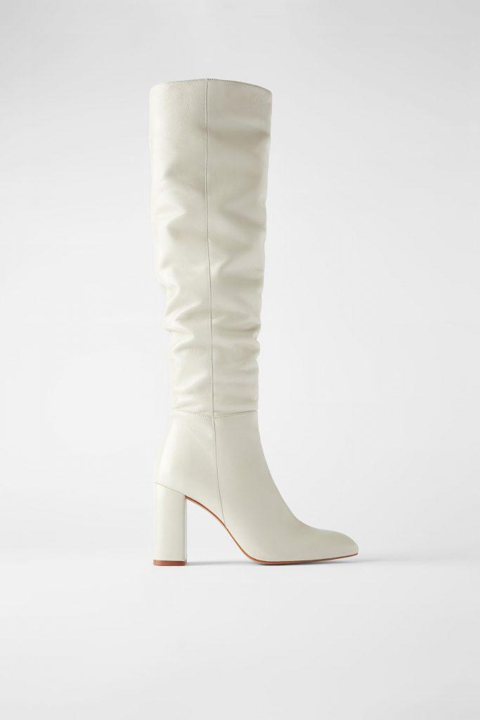 witte leren laarzen van zara