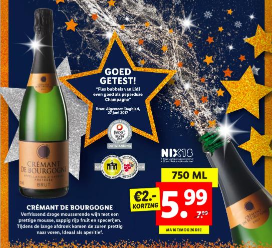 lidl verkoopt goed beoordeelde champagne crémant de Bourgogne